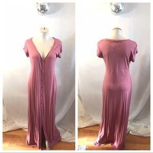 Boohoo Becky Rose Button Through Split Maxi Dress